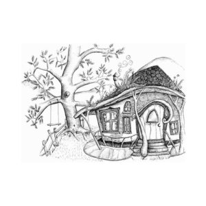 DRC Illustrations print faeire house over the hills